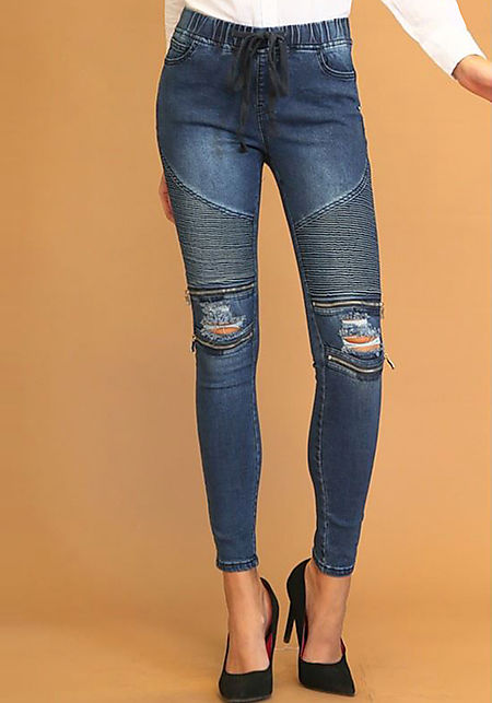 Dark Blue Embossed Zipper Trim Drawstring Jeans