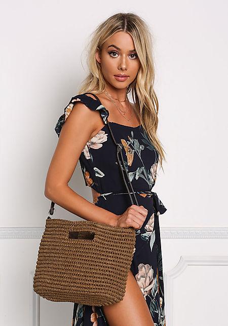 Brown Woven Crossbody Bag
