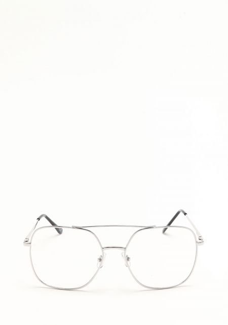 Silver Over Sized Clear Aviator Glasses