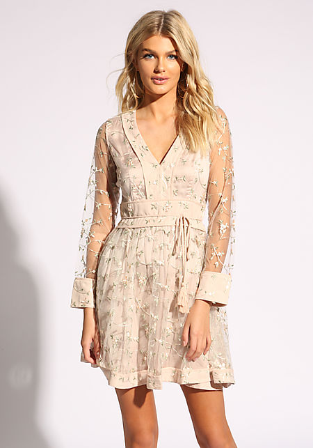 Nude Floral Embroidered Tulle Flared Dress