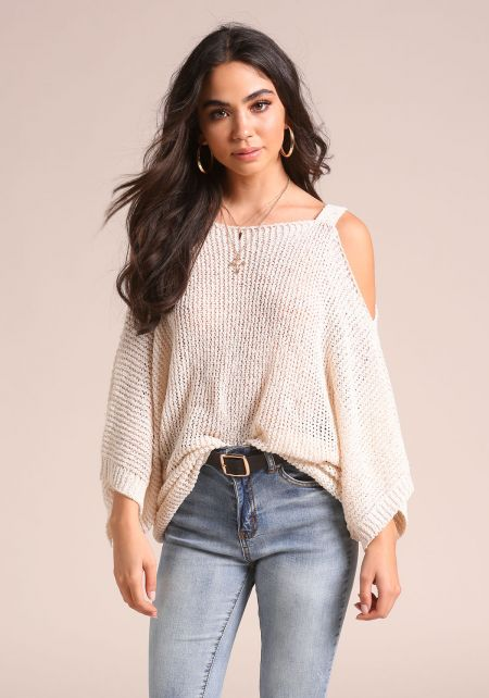 Cream Cold Shoulder Sweater Knit Top
