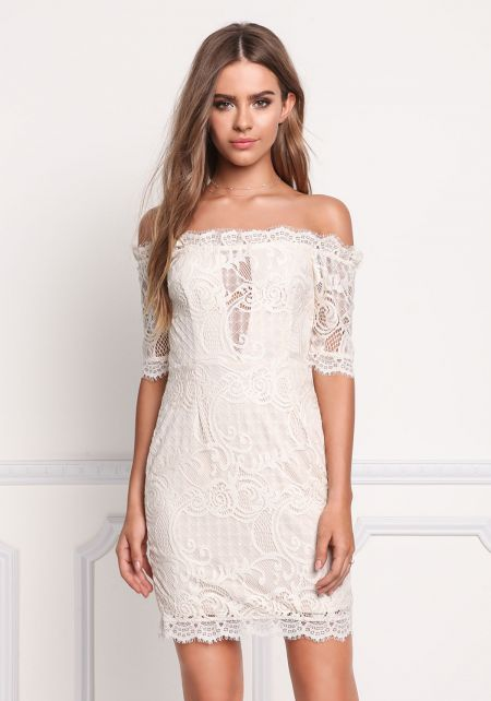 Cream Lace Off Shoulder Scallop Dress