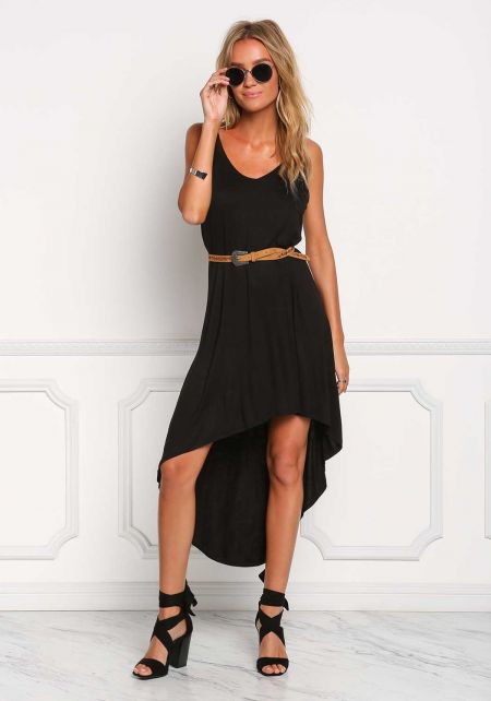 Black Hi-Lo Midi Dress