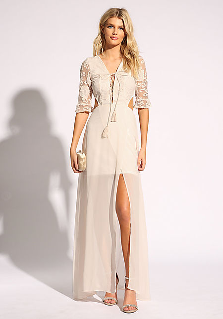Cream Embroidered Cut Out Lace Up Maxi Gown
