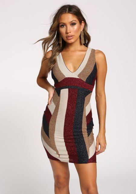 Multi Color Block Metallic Bodycon Dress