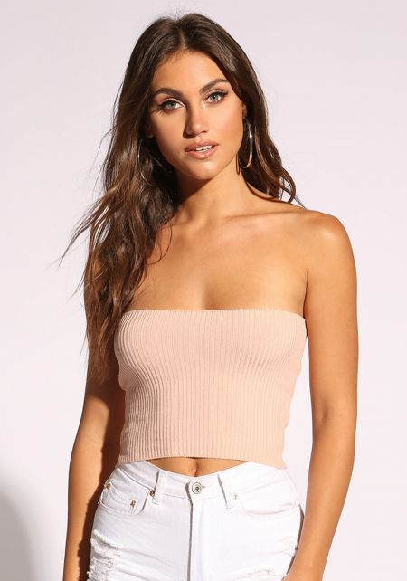 Dusty Pink Ribbed Knit Tube Top