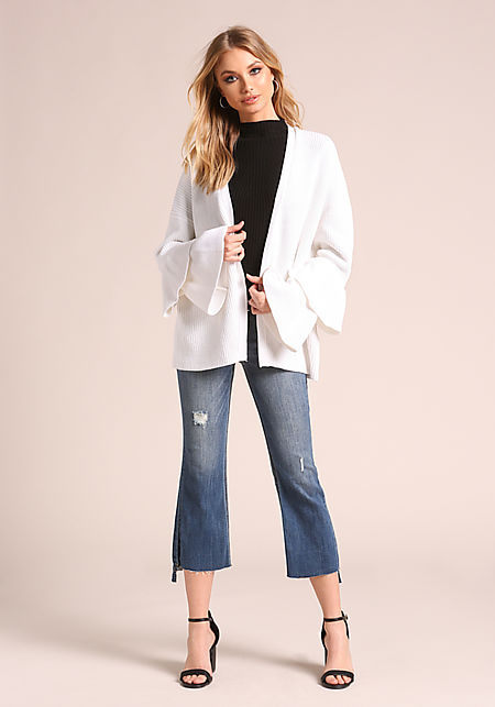 Cream Tiered Bell Sleeve Ribbed Knit Cardigan