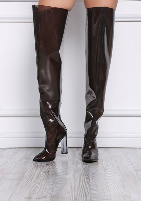 Black Perspex Thigh High Boots