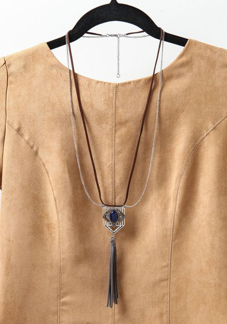 Silver Chain & Suedette Tassel Necklace