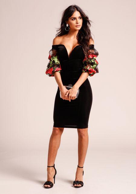Black Floral Embroidered Sleeve Velvet Dress