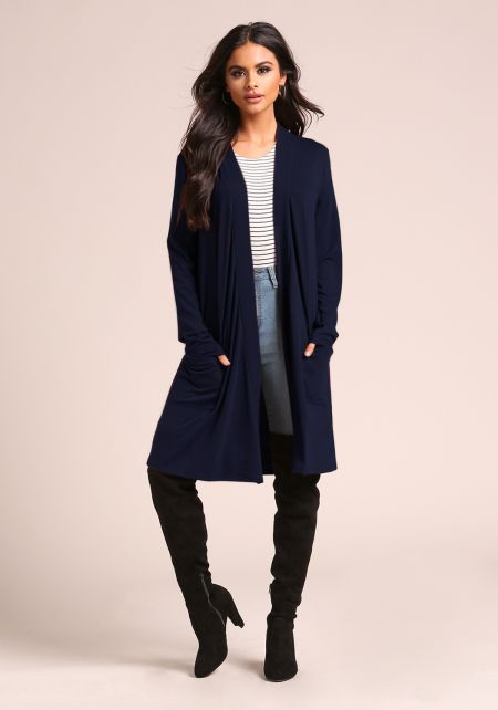 Navy Jersey Knit Longlined Pocket Cardigan