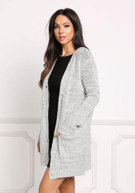 Heather Grey Thick Button Down Cardigan