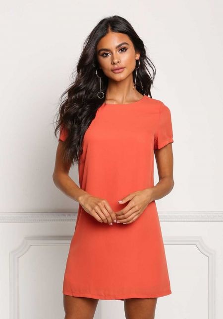 Coral Boxy Shift Dress