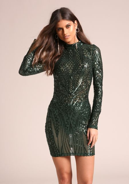 Hunter Green Sequin Mesh Bodycon Dress