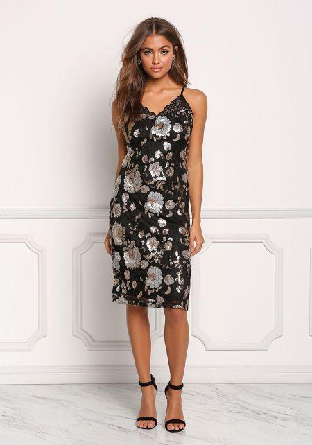 Black Floral Sequin Embroidered Slit Dress