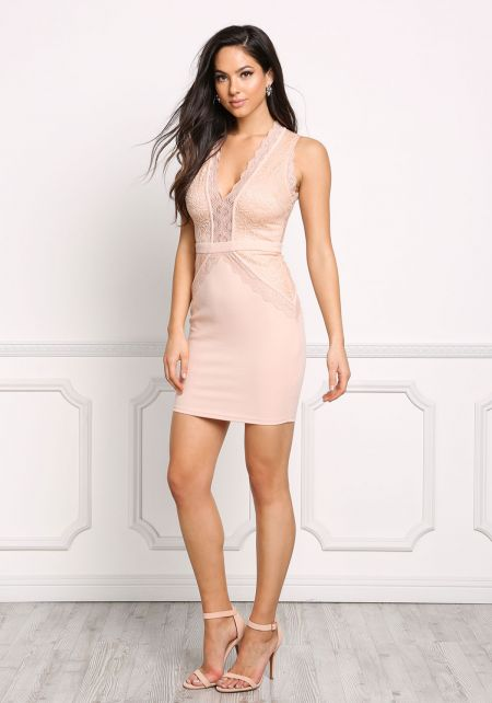 Nude Plunge Lace Bodycon Dress