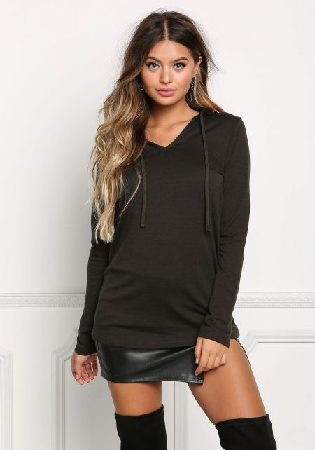 Olive Hooded Jersey Knit Sweater Top