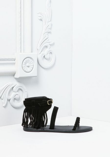 Black Suedette Fringe Braided Strap Sandals