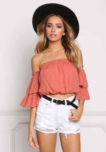 Rust Off Shoulder Bell Sleeve Crop Top