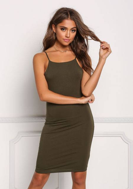 Olive Solid Jersey Knit Bodycon Dress