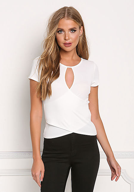 Ivory Ribbed Knit Cross Over Top