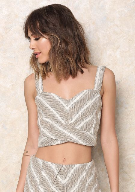 Taupe Stripe Tweed Wrapped Crop Top