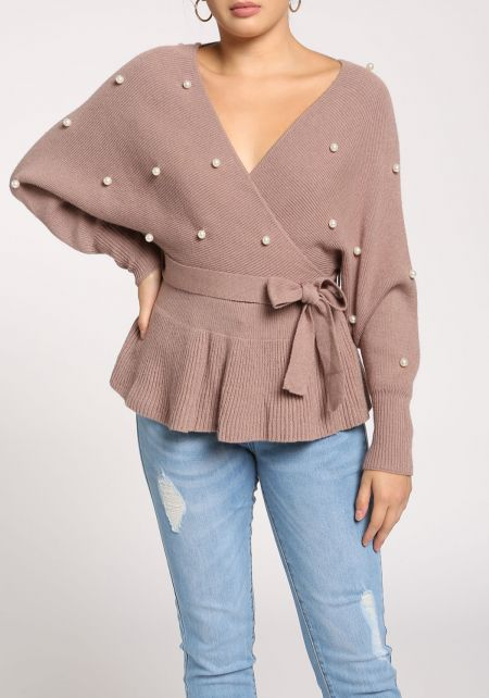 Mocha Pearl Waist Tie Flared Sweater Top