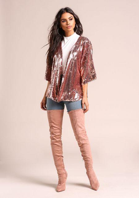 Pink Sequin Side Slit Kimono