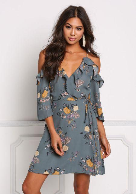 Sage Floral Cold Shoulder Wrap Dress