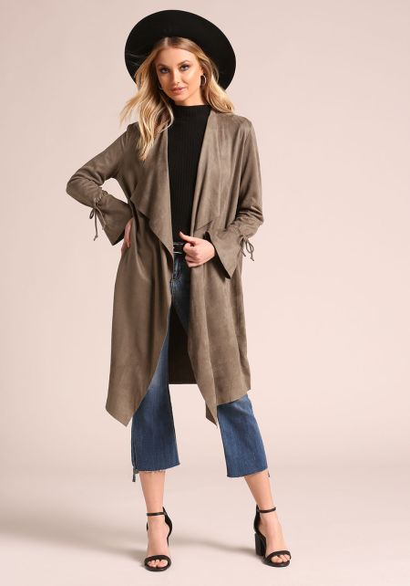 Olive Suedette Drape Front Longlined Duster Jacket