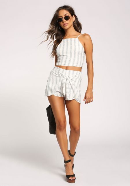 White Pinstripe Tie Front Shorts