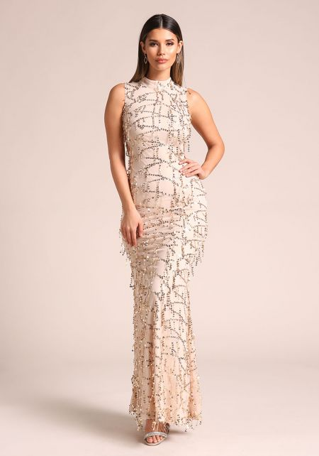 Nude Sequin Side Lace Up Maxi Gown