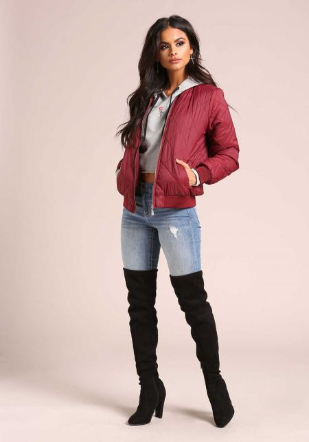 Burgundy Quilted Bomber Jacket