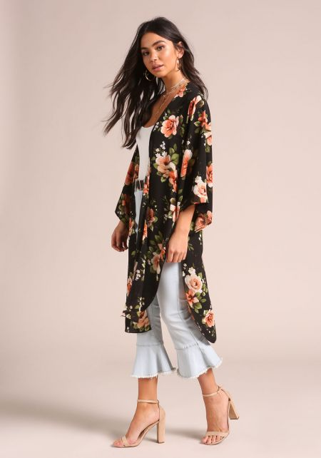 Black Floral Slit Bell Sleeve Kimono