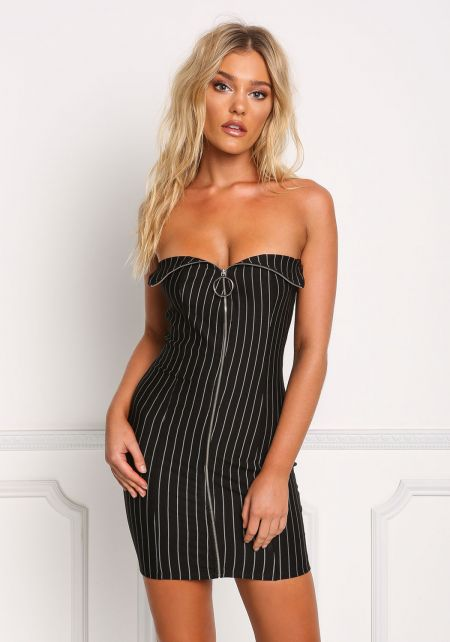 Black Strapless Pinstripe Zipper Bodycon Dress