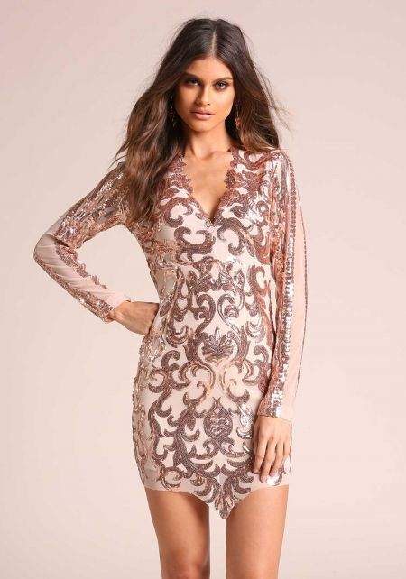 Rose Gold Sequin Brocade Pointed Bodycon Dress