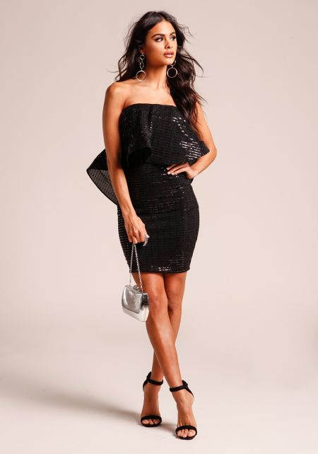 Black Voluminous Layered Sequin Bodycon Dress