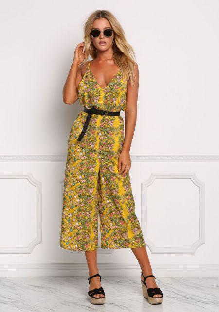 Mustard Floral Side Cut Out Jumpsuit