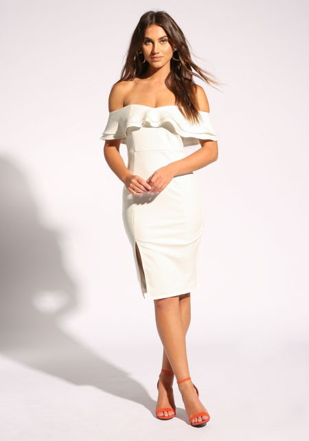 White Ruffle Layered Off Shoulder Bodycon Dress