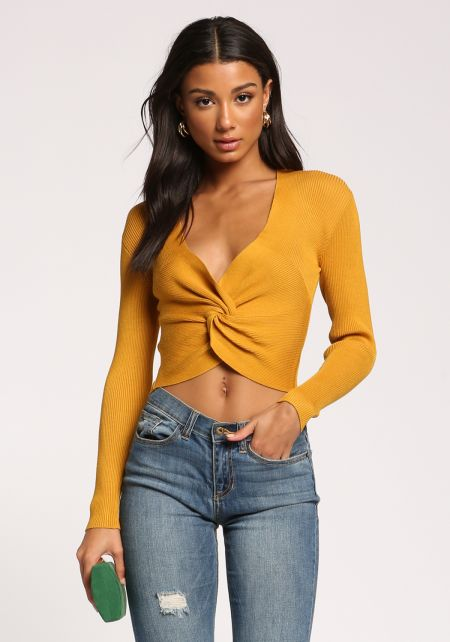 Mustard Twisted Ribbed Knit Crop Top