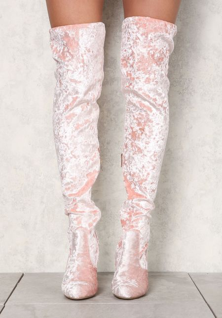 Blush Crushed Velvet Over The Knee Boots