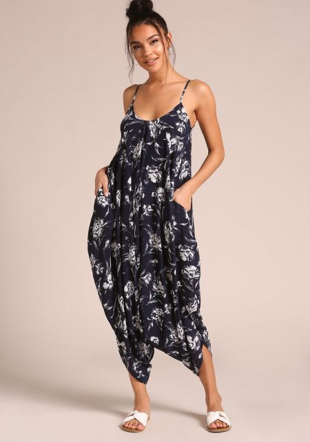 Navy Floral Harem Pocket Jumpsuit