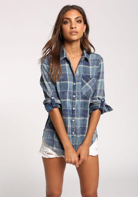 Blue Plaid Acid Wash Flannel Shirt
