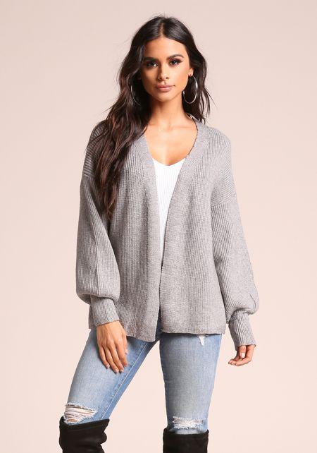 Grey Puff Sleeve Ribbed Knit Cardigan
