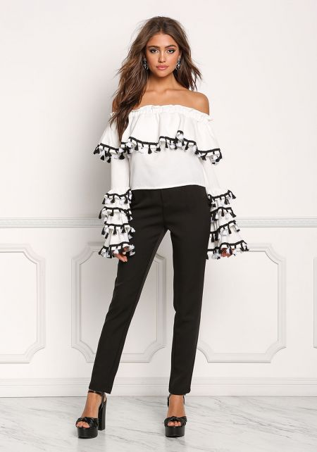 White Off Shoulder Tiered Tassel Bell Sleeve Blous