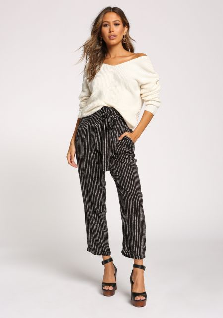 Black and Ivory Pinstripe Waist Tie Pants