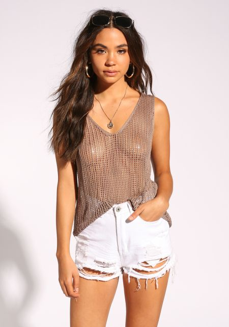 Mocha Back Lace Up Knitted Tank Top