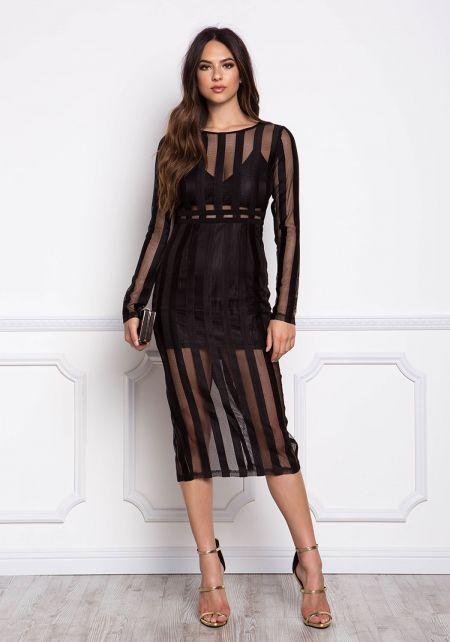 Black Pinstripe Mesh Midi Bodycon Dress