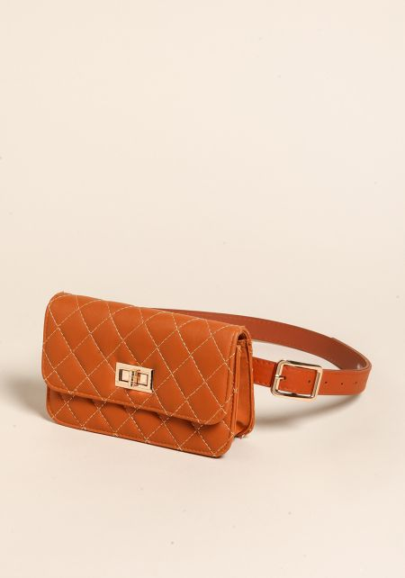 Brown Quilted Leatherette Fanny Belt