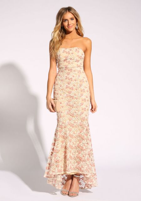 Rose Gold Pearl Embroidered Mermaid Gown